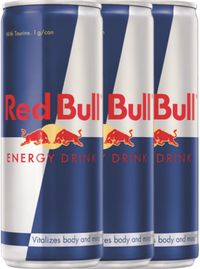 Three Red Bull cans